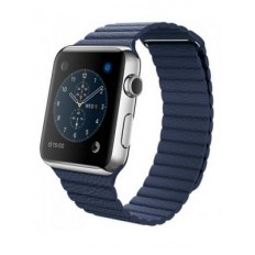 Apple Watch 42mm Stainless Steel Case with Midnight Blue Leather Loop (MLFC2)