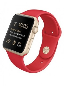 Apple Watch Sport 42mm Gold Aluminum Case with Red Sport Band (MMEE2)
