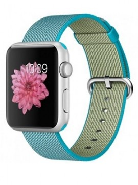 Apple Watch Sport 42mm Silver Aluminum Case with Scuba Blue Woven Nylon (MMFN2)