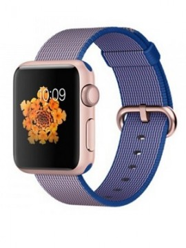 Apple Watch Sport 38mm Rose Gold Aluminum Case with Royal Blue Woven Nylon (MMF42)
