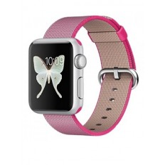 Apple Watch Sport 38mm Silver Aluminum Case with Pink Woven Nylon (MMF32)