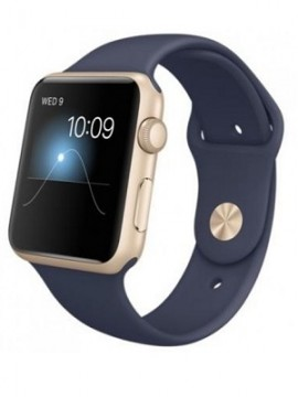 Apple Watch Sport 42mm Gold Aluminum Case with Midnight Blue Sport Band (MLC72) CPO