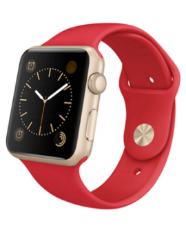Apple Watch Sport 38mm Gold Aluminum Case with Producted RED Sport Band (MMEC2)