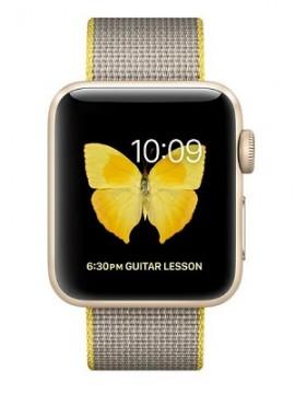 Apple Watch Series 2 38mm Gold Aluminum Case with Yellow/Light Gray Woven Nylon Band (MNP32) - Новый распечатанный