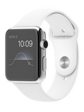 Apple Watch 42mm Stainless Steel Case with White Sport Band (MJ3V2) - Новый распечатанный